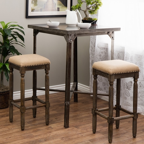 Renate Linen Bar Stools Set Of 2 15072616 Overstock inside linen bar stools pertaining to Dream