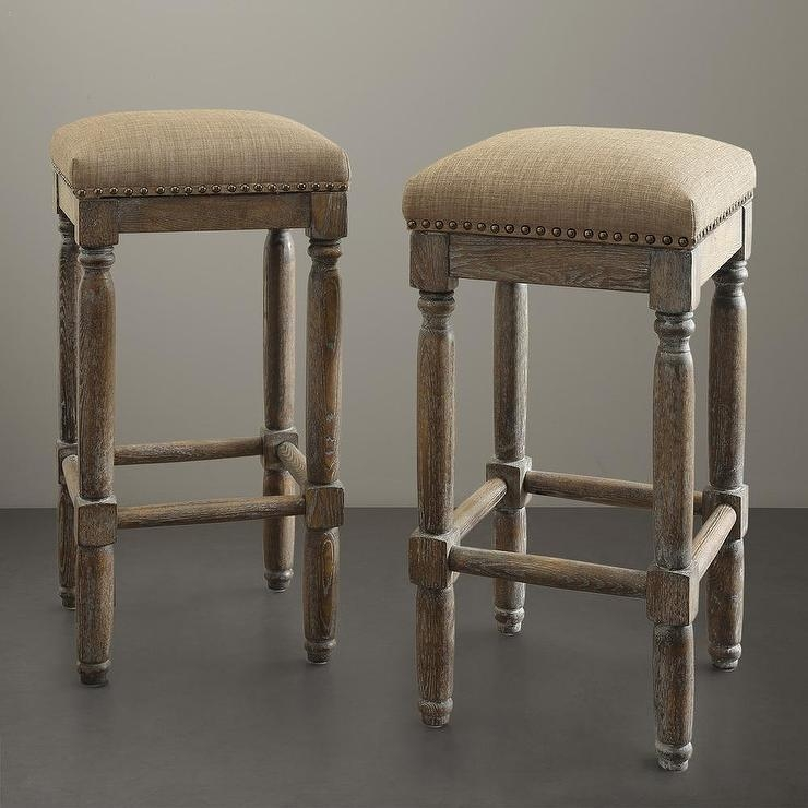 Renate Linen Whitewash Bar Stools inside Wood Backless Bar Stools