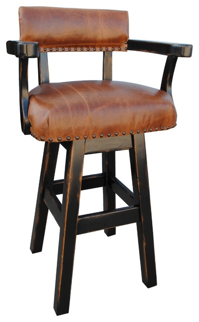 River Western Rustic Swivel Bar Stool Leather 24quot Southwestern in Rustic Swivel Bar Stools