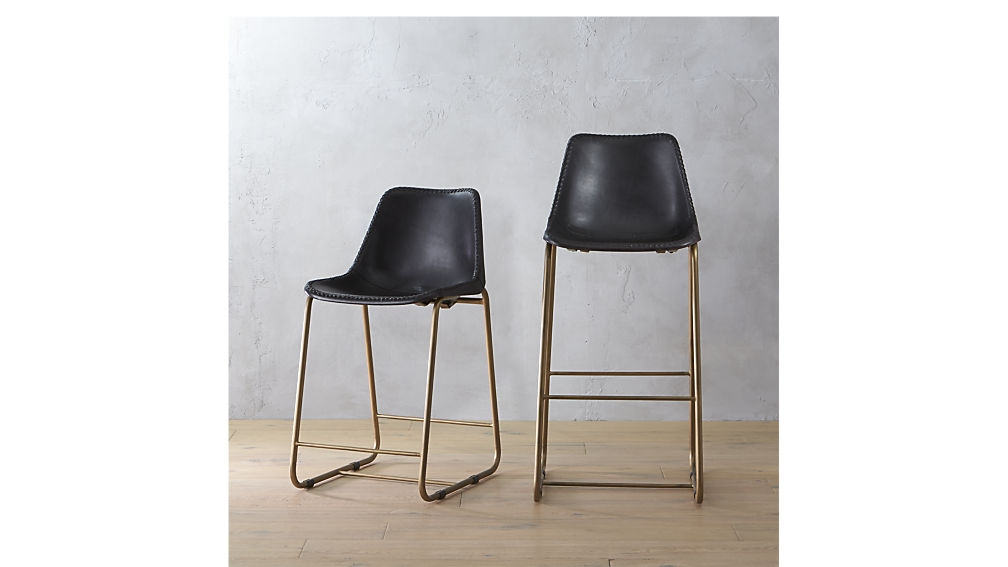 Roadhouse Black Leather Bar Stools Cb2 within Amazing in addition to Interesting black leather bar stools intended for The house