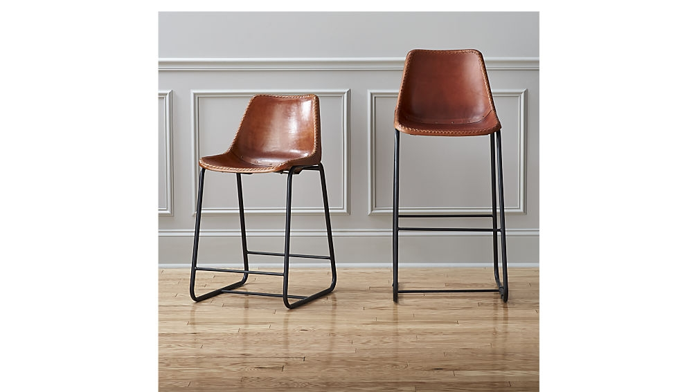 Roadhouse Leather 30quot Bar Stool Cb2 with regard to 30 bar stools for Residence