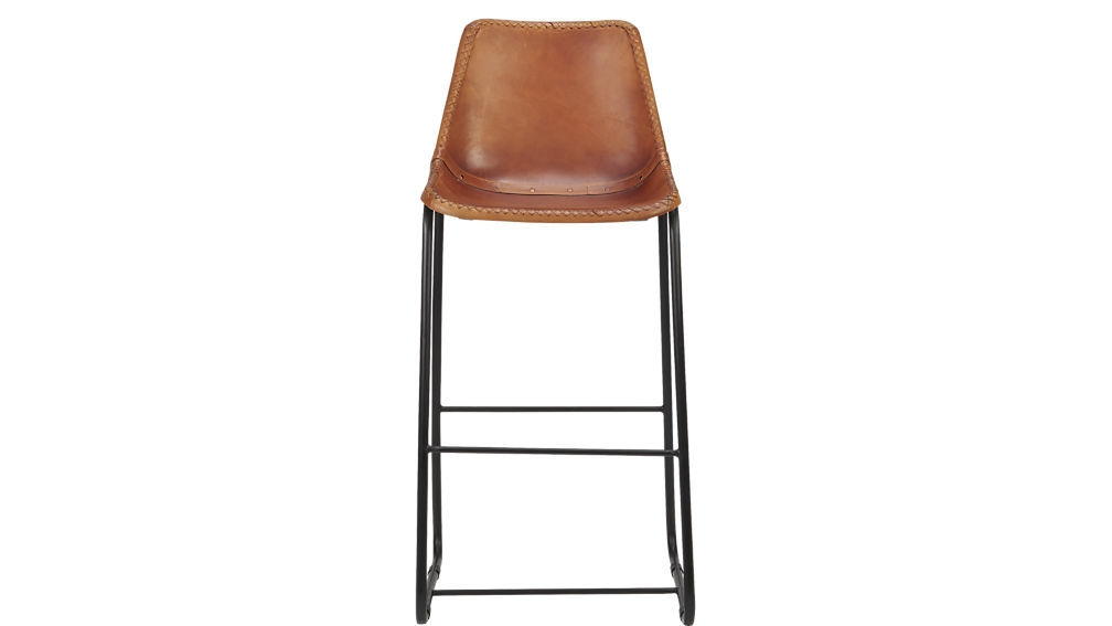 Roadhouse Leather 30quot Bar Stool Cb2 within 30 bar stools for Residence