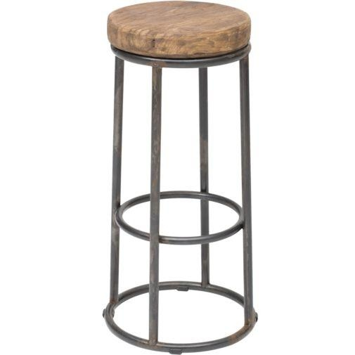 Rochefort Iron Wood Beige Linen Bar Stool intended for Wood And Iron Bar Stools