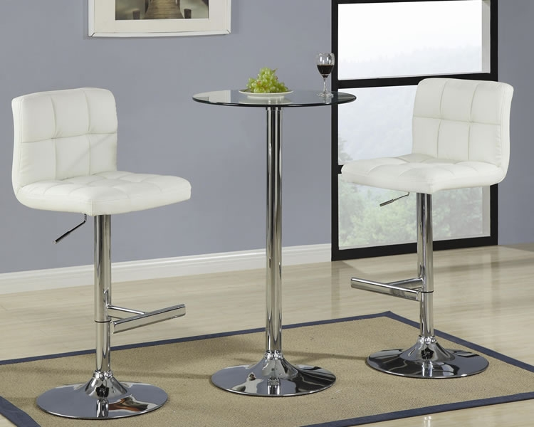 Round Glass Pub Table With Cream Bar Stool throughout Bar Stools And Tables