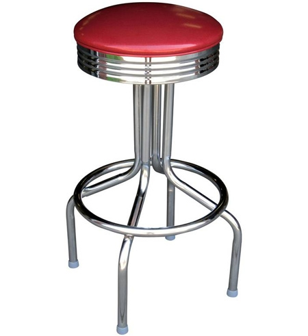 Round Seat Chrome Ring Retro Chrome Bar Stool All Welded Frame with Chrome Bar Stool