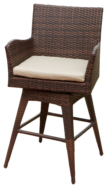 Royer Outdoor Wicker Brown Swivel Barstool Beach Style Outdoor inside Outdoor Swivel Bar Stools With Arms