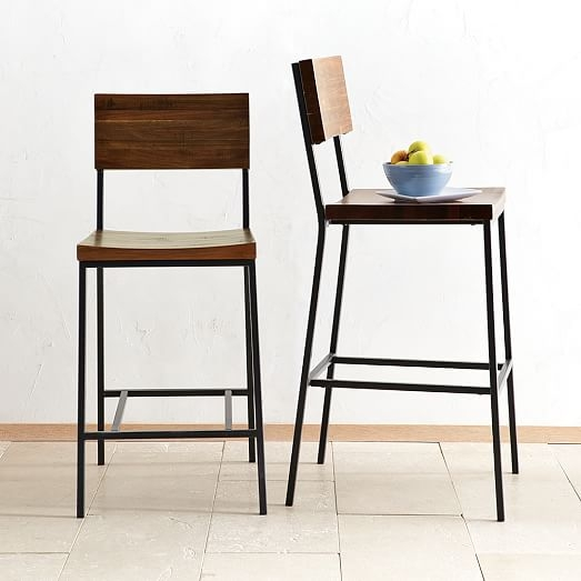 Rustic Bar Stool Counter Stool West Elm regarding Counter Bar Stools