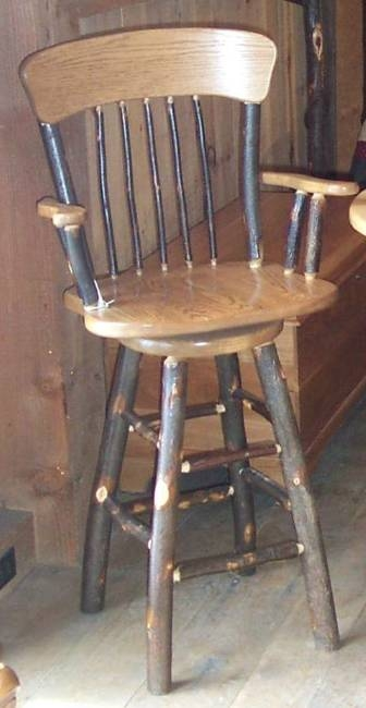 Rustic Hickory Wood Swivel Bar in Rustic Swivel Bar Stools