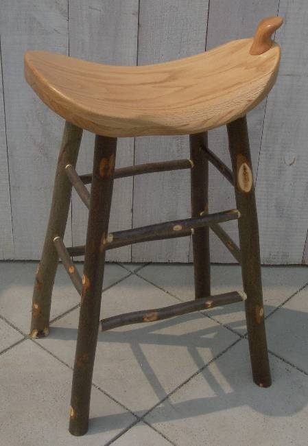 Rustic Hickory Wood Swivel Bar Stools intended for Wooden Saddle Bar Stools