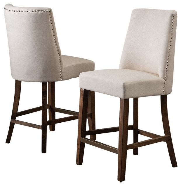 Rydel Nailhead Accent Linen Beige Fabric Stools Set Of 2 with regard to bar stool counter height for Found Household