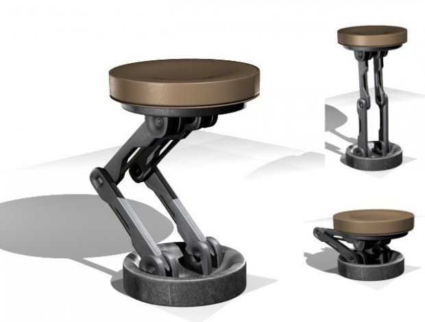Scifi Adjustablemechanical Bar Stool Rigged 3d Model Blend with regard to The Most Brilliant in addition to Interesting bar stools adjustable intended for Your house