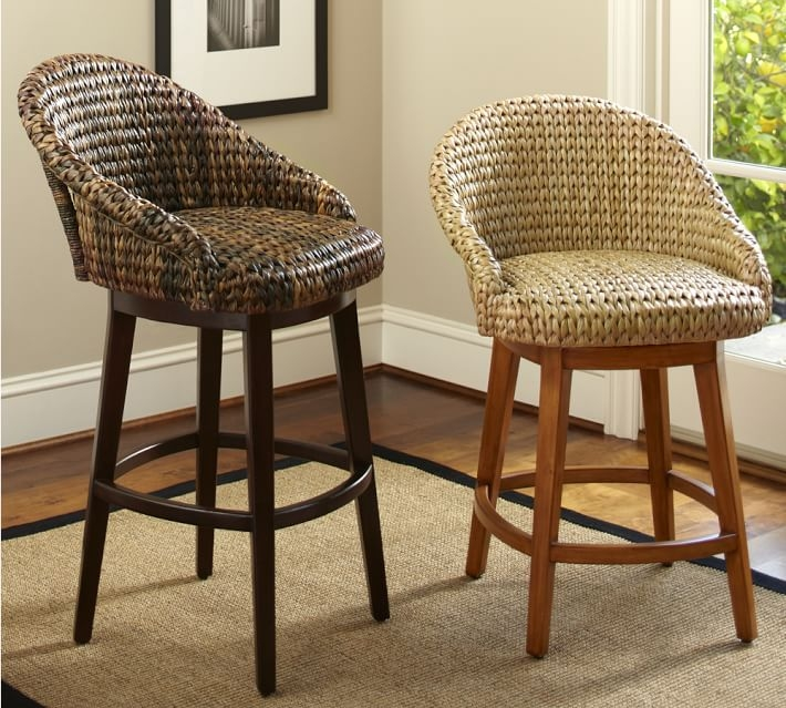 Seagrass Bucket Swivel Barstool Pottery Barn intended for Incredible  wicker swivel bar stools pertaining to  Household