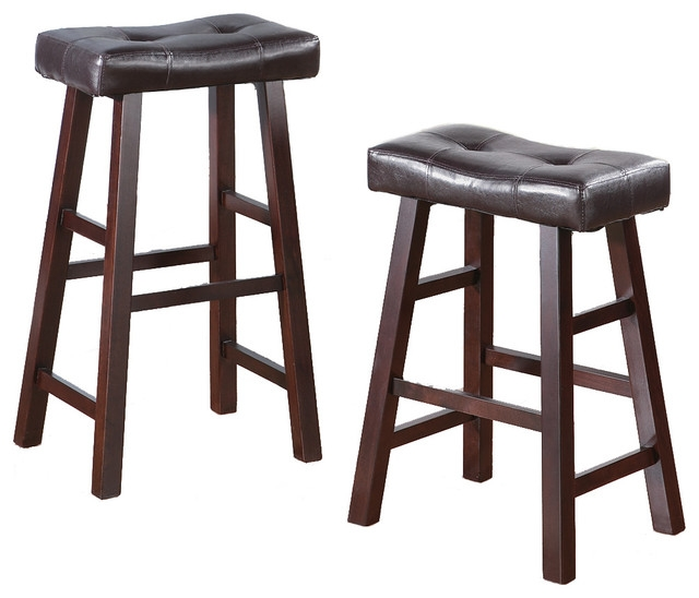 Set Of 2 Barstools Stools Faux Leather Saddle Seat Traditional intended for Saddle Bar Stools