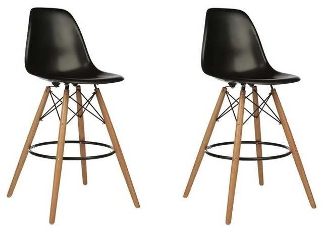 Set Of 2 Dsw Black Mid Century Modern Plastic Bar Stool With Wood pertaining to eames bar stool for Inspire