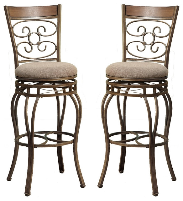 Set Of 2 Swivel Barstools Fabric Cushion Metal Frame Bar Pub for Metal Swivel Bar Stools With Back