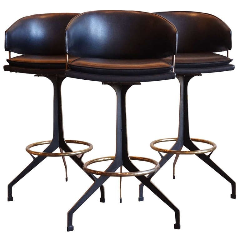 Set Of 3 Brass And Painted Steel Bar Stools On Swivel Gerald with regard to Vintage Swivel Bar Stools