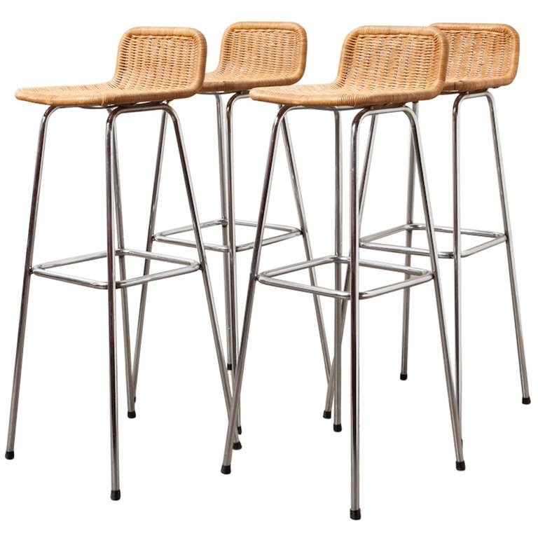 Set Of 4 Charlotte Perriand Style Wicker Bar Stools At 1stdibs for Wicker Bar Stool