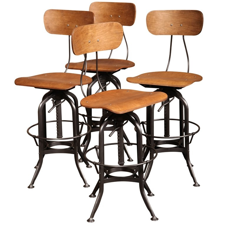 Set Of 4 Original Vintage Industrial Toledo Bar Stools At 1stdibs with Antique Bar Stools