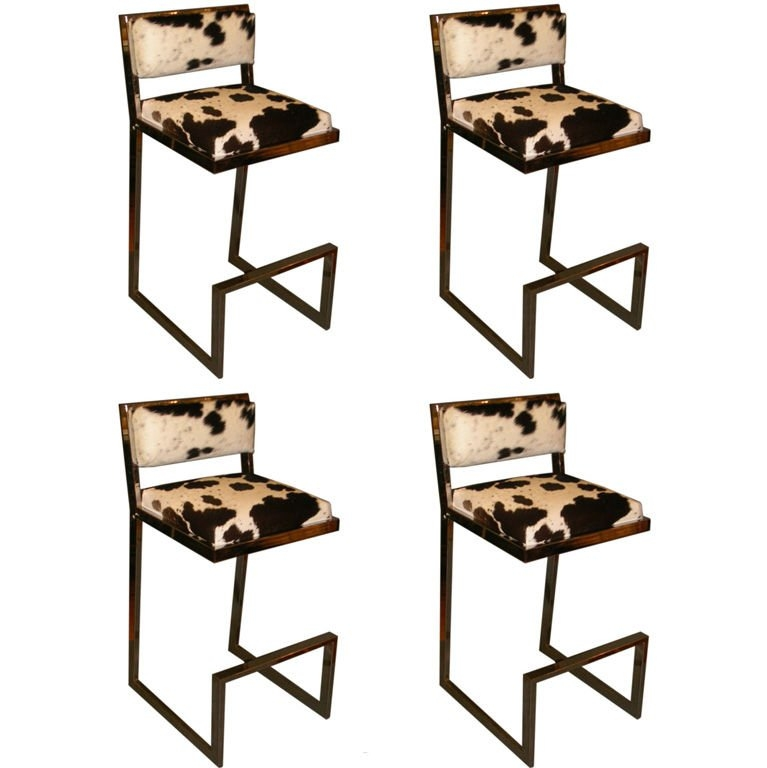 Set Of Four 197039s Chrome And Cowhide Bar Stools At 1stdibs pertaining to Cowhide Bar Stools