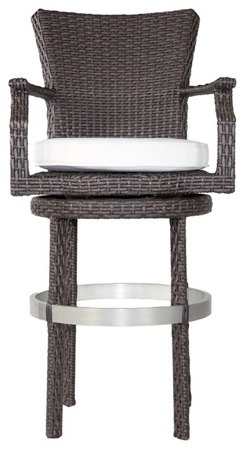 Signature Swivel Round Barstool With Arms Contemporary Outdoor with regard to Outdoor Swivel Bar Stools With Arms