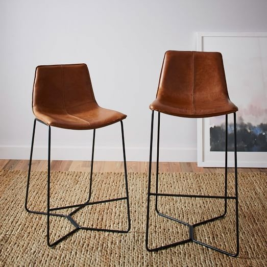Slope Leather Bar Counter Stools West Elm for Leather Bar Stool