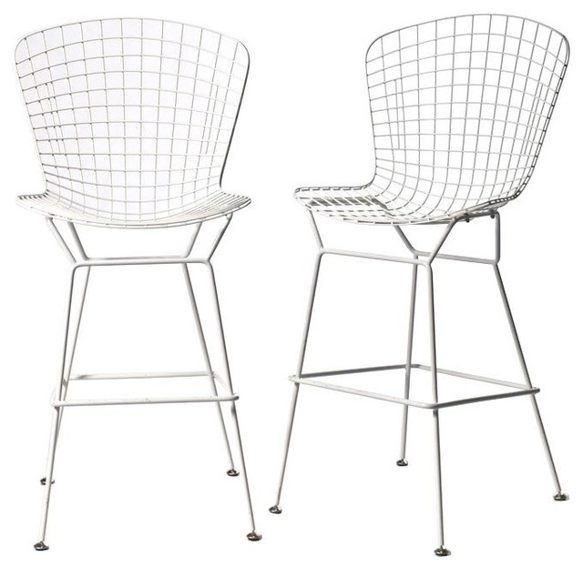 Sold Out Pair Of Bertoia Style Bar Stools In White 400 Est with regard to bertoia bar stool for Household