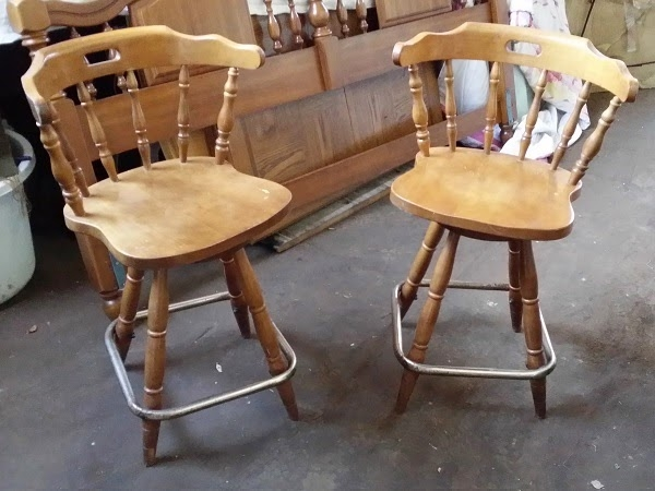 Sold Vintage Pair Of Maple Captains Mate Swivel Bar Stools in bar stools craigslist pertaining to Your house
