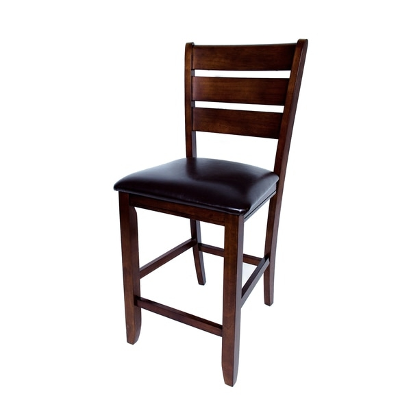 Solid Hardwood Brown Ladder Back Cushion 24 Inch Counter Height regarding 24 inch bar stools with backs with regard to Existing Property
