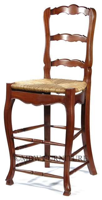 Solid Mahogany Ladder Back Barstool With Hand Woven Rush Seat in ladder back bar stools intended for  House