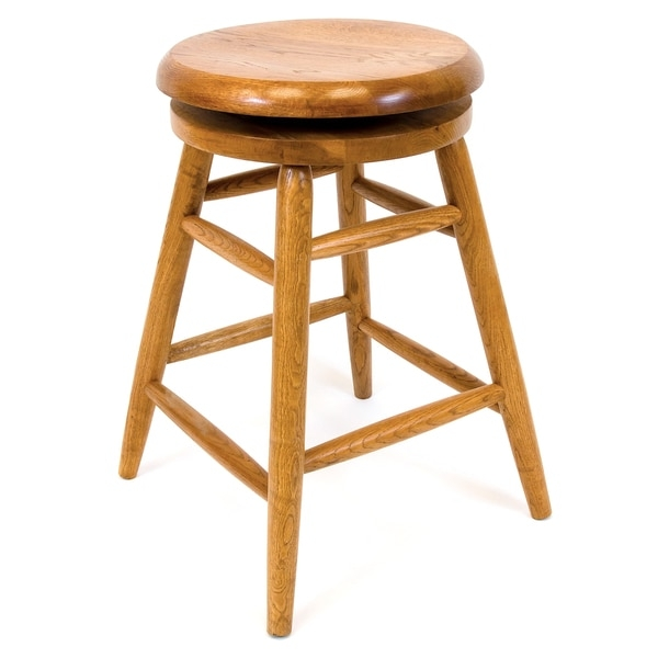 Solid Medium Oak Backless Saddle Swivel 24 Inch Counter Height regarding 24 Inch Backless Bar Stools