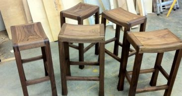 Solid Walnut Saddle Seat Bar Stools Custom Made To Order for Saddle Seat Bar Stools