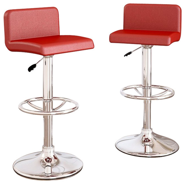 Sonax Corliving Low Back Bar Stool In Red Leatherette Set Of 2 within Red Bar Stool