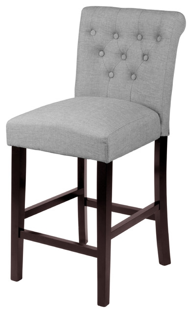 Sopri Counter Chairs Set Of 2 Gray Transitional Bar Stools intended for Grey Bar Stools