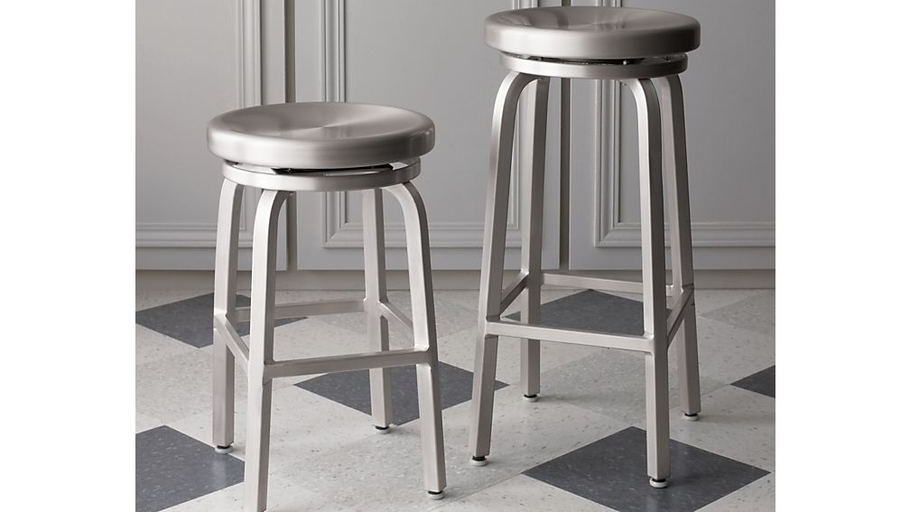 Spin Swivel Backless Bar Stools And Cushion Crate And Barrel within aluminum swivel bar stools for Your own home