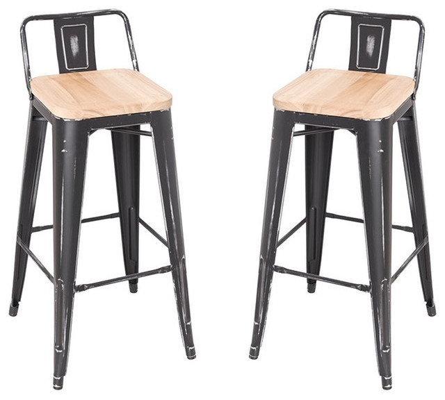 Stackable Steel Bar Stools With Ash Wood Seat Set Of 2 Antique in Steel Bar Stools
