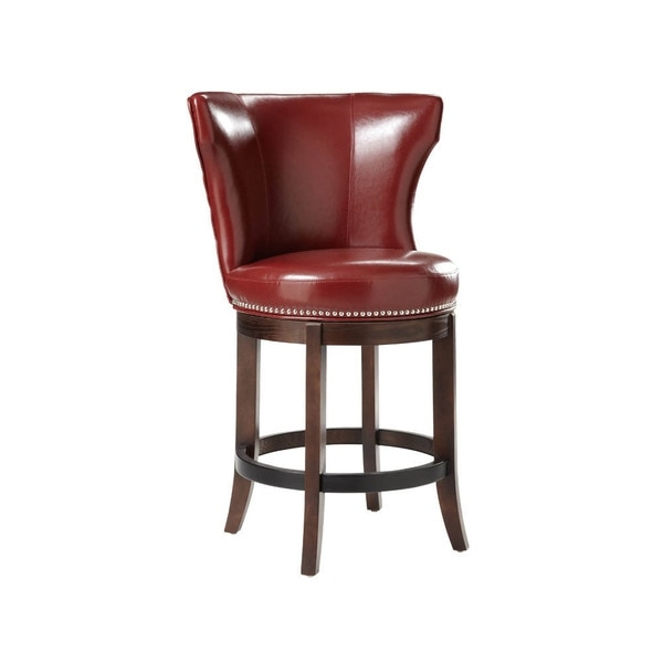 Sunpan 395west39 Tavern Bonded Leather Swivel Counter Stool throughout Red Leather Swivel Bar Stools