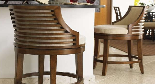 Swivel Bar Stools With Back Made Of Wood And Metal within Bar Stools With Arms And Swivel And Backs