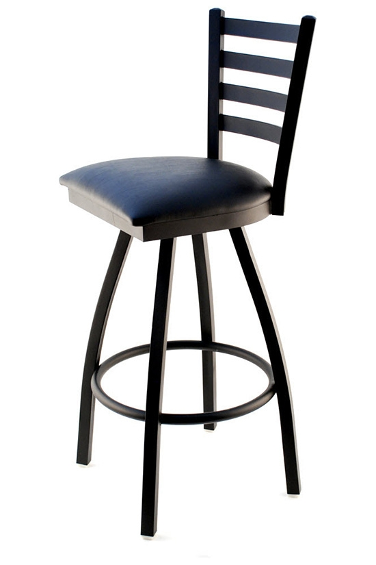 Swivel Ladder Back Metal Bar Stool Seating Masters Restaurant in restaurant swivel bar stools intended for The house