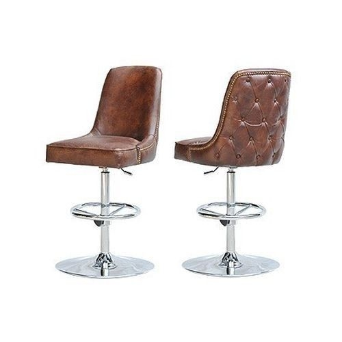 Swivel Modern Leather Bar Stool Seat Vintage Cigar Brown Chrome within Chrome Swivel Bar Stools