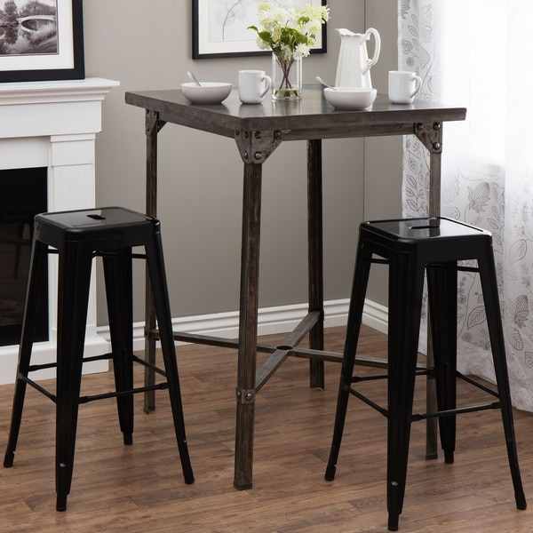 Tabouret 30 Inch Black Metal Bar Stools Set Of 2 12238964 within Bar Stool Set Of 2