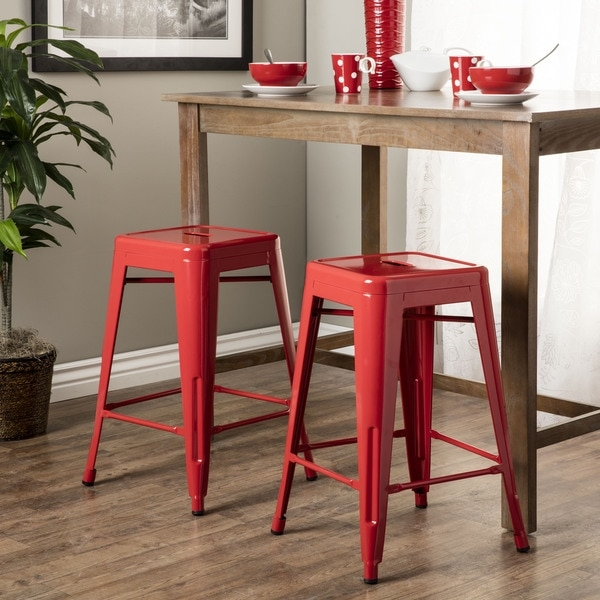 Tabouret 30 Inch Metal Barstools Set Of 2 11927319 Overstock intended for Tabouret Bar Stools