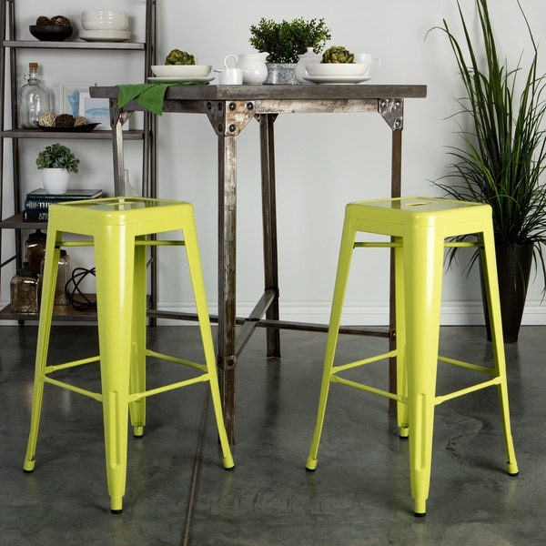 Tabouret 30 Inch Metal Barstools Set Of 2 11927319 Overstock throughout Tabouret Bar Stools