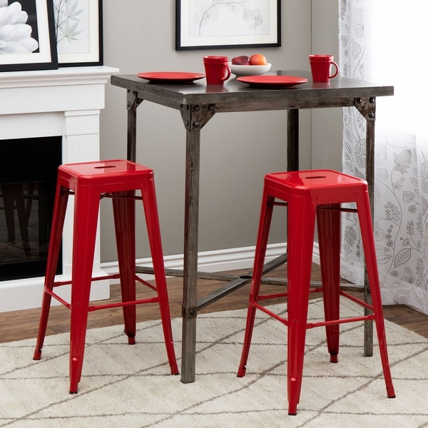 Tabouret 30 Inch Red Metal Bar Stools Set Of 2 12950057 with regard to Set Of 2 Bar Stools