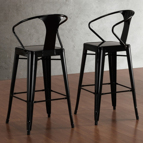 Tabouret Black With Back 30 Inch Bar Stools Set Of 2 Overstock in Tabouret Bar Stools