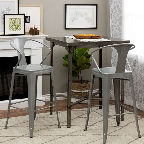 Tabouret Silver With Back 30 Inch Bar Stools Set Of 2 14381364 throughout 30 Inch Bar Stools With Back