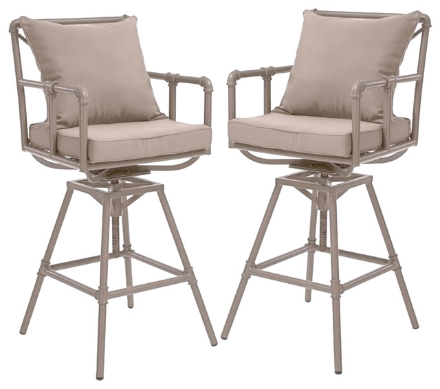 Tallahassee Outdoor Adjustable Height Swivel Bar Stools Set Of 2 in Outdoor Swivel Bar Stools With Arms