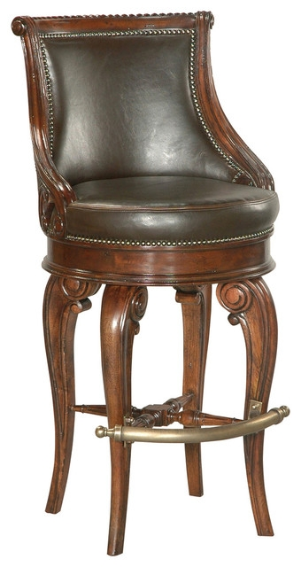 Tatum Swivel Barstool Dark Leather Traditional Bar Stools And for Swivel Leather Bar Stools