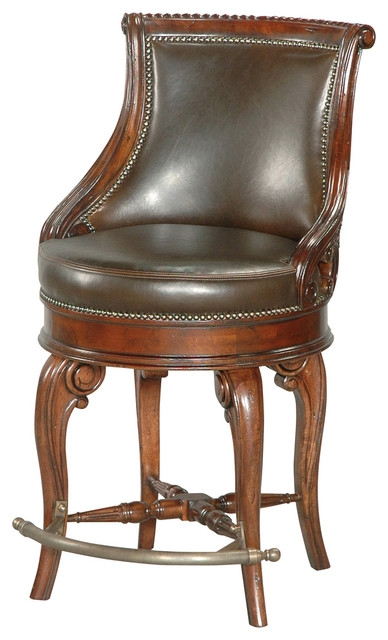 Tatum Swivel Counter Stool Dark Leather Traditional Bar with leather swivel bar stools with backs intended for Your own home