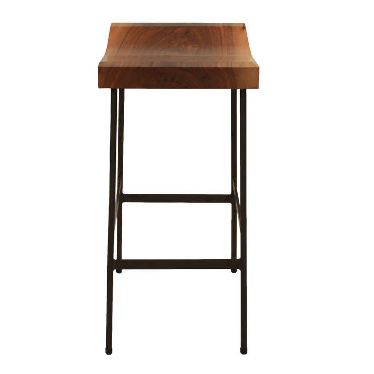 The Bunda Bar Stool In Walnut Thomas Hayes Studio At 1stdibs in Walnut Bar Stools
