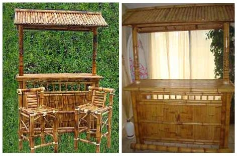 Tiki Bar Set with regard to Bamboo Tiki Bar Set With 2 Stools